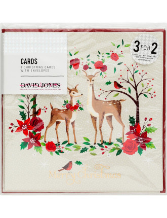 Card Box 8pk - Kraft Reindeer