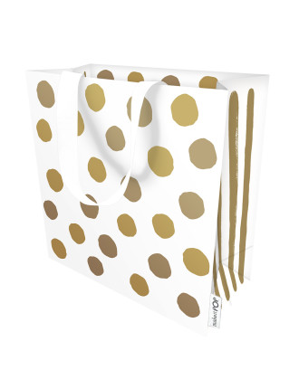 Gbag Sml  Dotty Gold On White