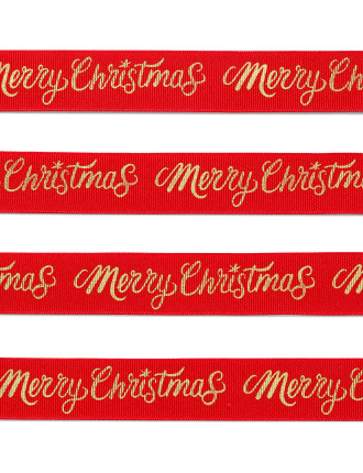 25MM MERRY CHRISTMAS SCRIPT GROSGRAIN RIBBON 10M