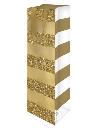 Bottle Bag Gold Glitter Stripe