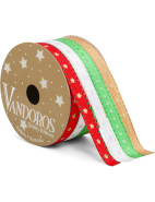 Ribbon New Jolly Stars Red, White, Lime, Gold $14.95