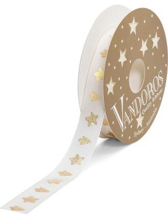 Ribbon Cherish Stars/Trees Ivory/Gold 15mmx4m