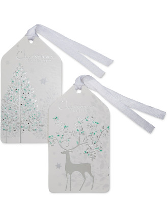 Christmas Gift Tags - Silver & White Pine Forest