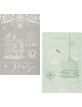 Christmas Boxed Cards - Silver & White Pine Forest