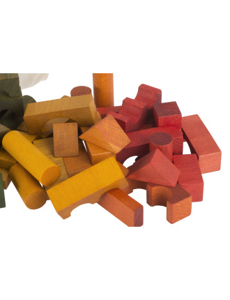 Wooden Story Blocks in Cotton Sack, 100 pcs