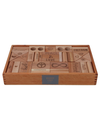 Wooden Story Peace & Love Blocks, 72 pcs