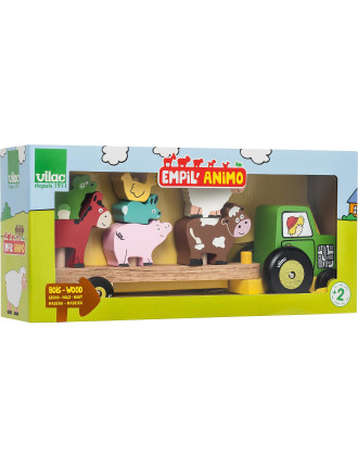 Vilac Tractor And Trailer With Animals Stacking Game