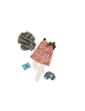 Sequined Dress With Fur Shaw