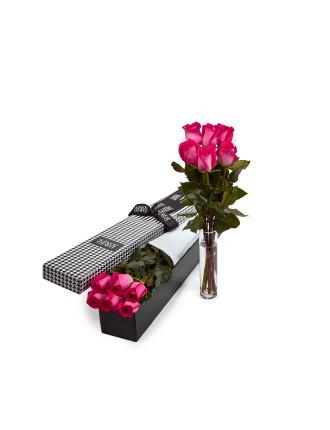 6 Pink Premium Long Stem Roses