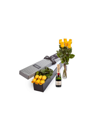 6 Yellow Premium Roses & 375ml Moet