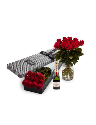 12 Red Premium Roses & 375ml Moet