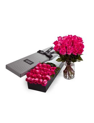 24 Pink Premium Long Stem Roses