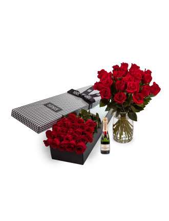 24 Red Premium Roses And 375ml Moet
