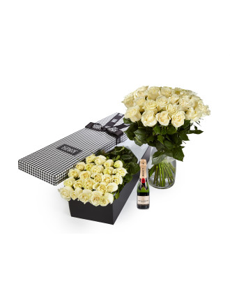 24 White Premium Roses & 375ml Moet
