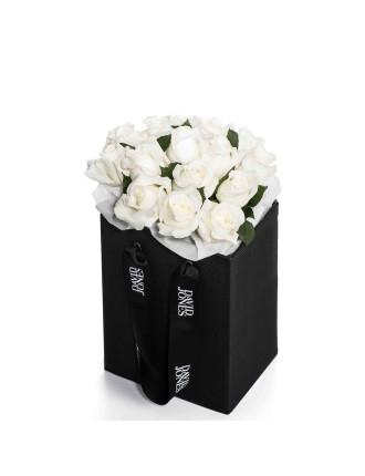 25 Premium White Roses