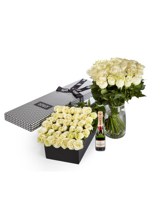 36 White Premium Roses & 375ml Moet