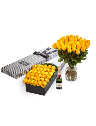 36 Yellow Premium Roses & 375ml Moet
